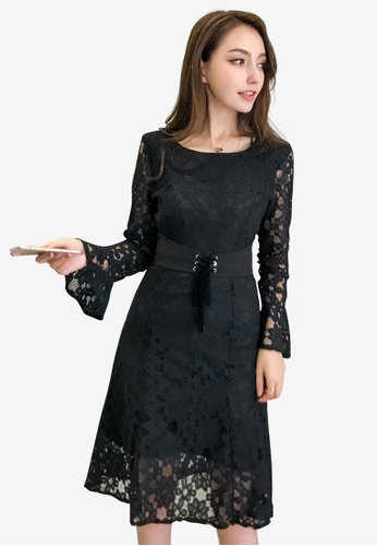 hk-ehunter black Women Lace High Waist Flare sleeves Dress 2E004AABFD4BD3GS_1