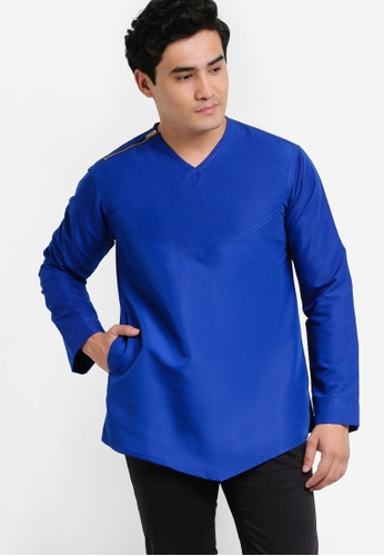 Amar Amran blue and navy Kurta Yusuf AM362AA99JWAMY_1