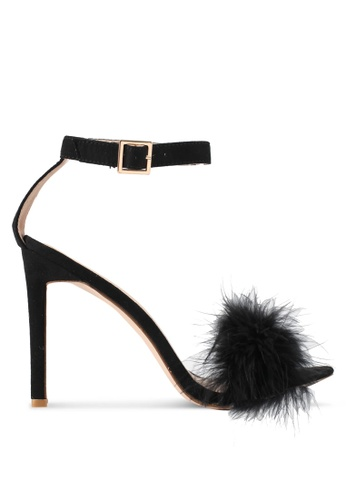 Public Desire black Chemistry Faux Feather Detail Barely There Heels PU378SH0SIPFMY_1