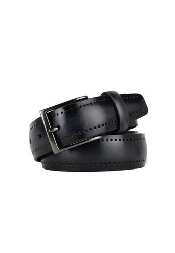 Barnns grey Barnns Legacy Perforated Calf Leather Belt in Gray 17C3EAC2F7445CGS_1