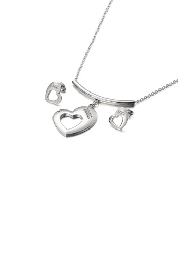 Glamorousky white Fashion and Simple Hollow Heart-shaped 316L Stainless Steel Necklace and Stud Earrings Set with Cubic Zirconia 6AD6FACB4D4D09GS_1