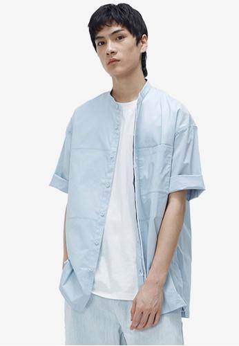 URBAN REVIVO blue Oversize Shirt DD98AAA41EF4CEGS_1