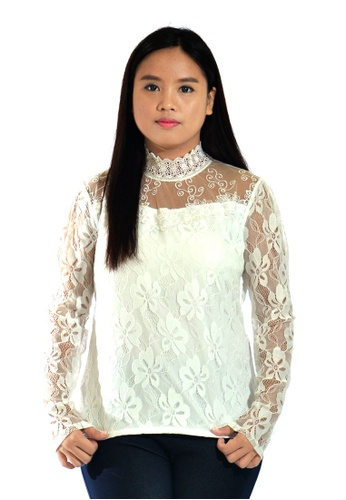 bf3a7c260c Women Plus Size Turtleneck Lace Blouse (White)