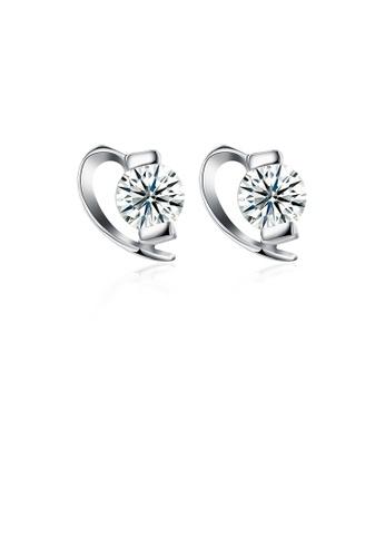 Glamorousky white 925 Sterling Silver Simple Sweet Heart Shaped Cubic Zircon Stud Earrings 8EF5CACD2D9AA4GS_1