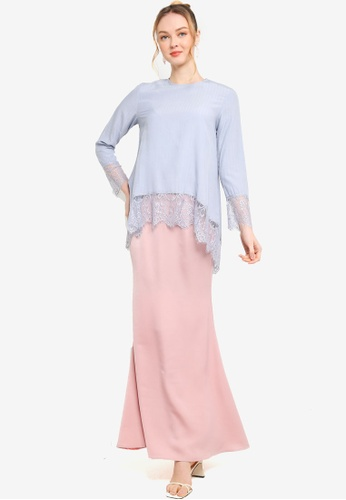 Lubna pink and blue Hi-Lo Kurung With Mermaid Skirt E2158AAEC50116GS_1
