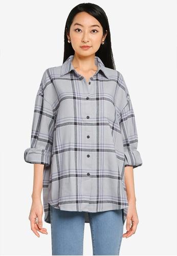 LOWRYS FARM grey Oversized Checked Shirt F977AAAAB13007GS_1