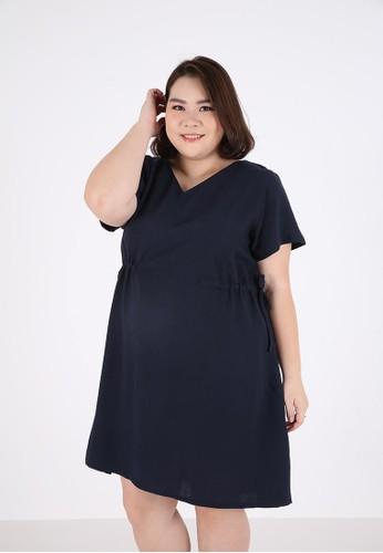 Sorabel blue Hazsa Plain Ribbon Mini Dress Big Size Blue C1F0AAA7FC7FA9GS_1