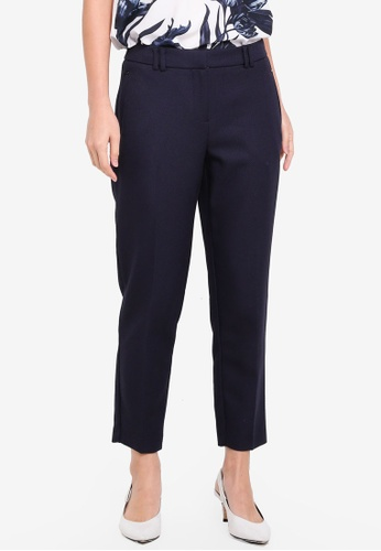 Dorothy Perkins navy Short Navy Textured Trousers 8EB01AA7CBF99FGS_1