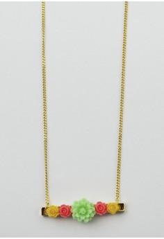 Floral Goldtone Bar Necklace
