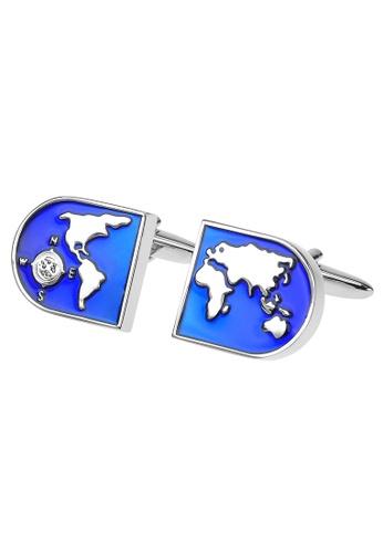 CUFF IT blue World Earth Map Cufflinks 031E4AC5AAD7A4GS_1