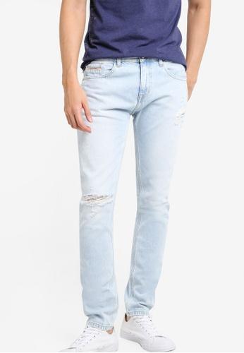 Calvin Klein blue Regular Taper Vintage Splatter Jeans - Calvin Klein Jeans CA221AA12XTBMY_1