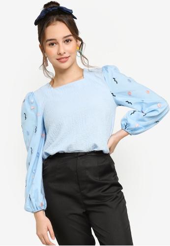 Lubna blue Floral Puff Sleeves Blouse 9A8EDAA1717CD4GS_1
