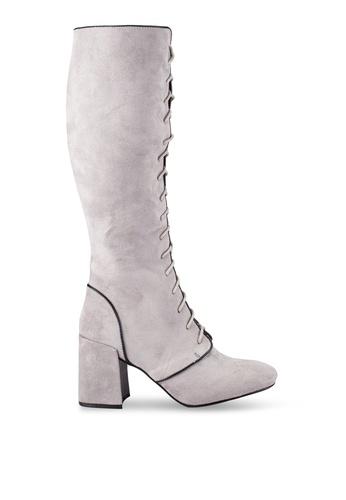 ZALORA grey Laced Up Mid Heel Boots 4A869ZZ4C6B84BGS_1
