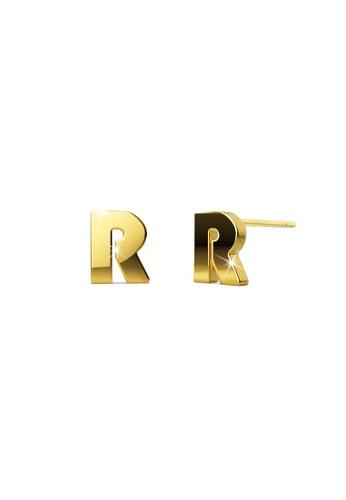 Bullion Gold gold BULLION GOLD Bold Initial Alphabet Letter Earrings Gold Layered Steel Jewellery- R 3A069ACA6CD114GS_1
