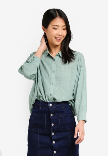ZALORA BASICS multi Oversized Gathered Shirt 59994AAD7859DEGS_1