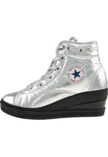 Maxstar 銀色 新款韩国鞋7H-Zip-TC-020時尚合成物質布混合女銀色 US Women Size MA345SH06HENTW_1