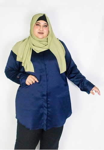 Zaryluq blue and navy Curve Tunic Top in Celestial 8822CAAB0838F2GS_1