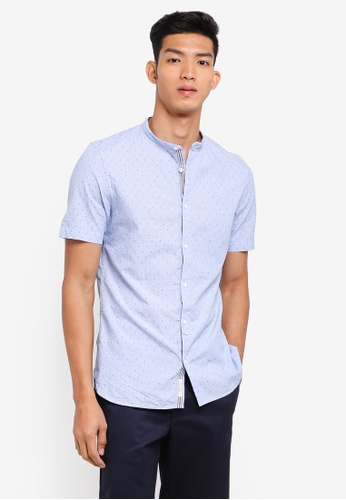 River Island blue Grandad Slim Fit Shirt FCF63AA7AA1512GS_1