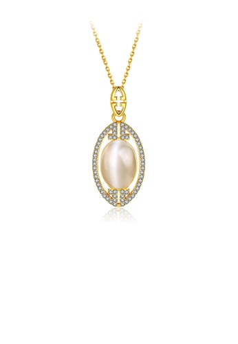 Glamorousky white Elegant Gold Oval Pendant with Austrian Element Crystal and Necklace 379D8ACA1AD373GS_1