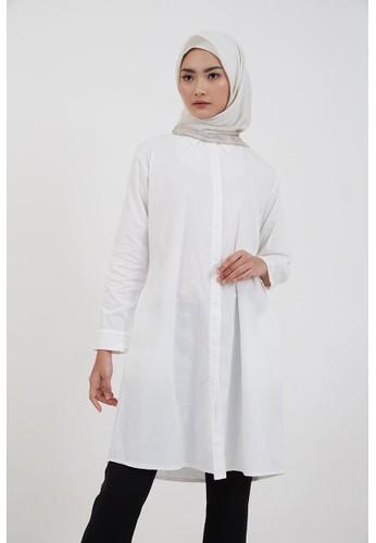 Hijabenka white Sephia Karla Long Shirt White D705BAAD1944EAGS_1