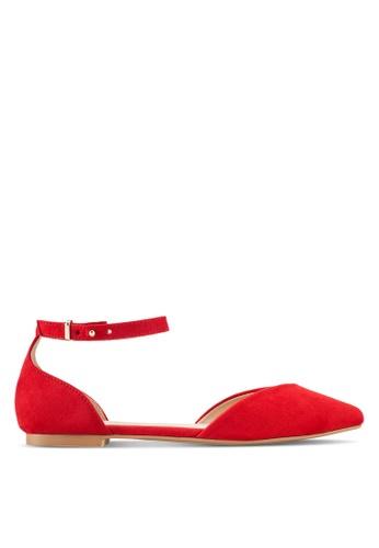 ZALORA 紅色 尖頭繞踝平底鞋 74DB0SHCE32684GS_1