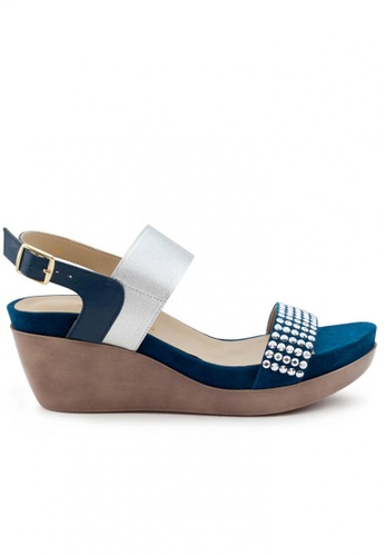 Shu Talk 藍色 牛皮型格窩釘鬆糕涼鞋 SH544SH099T1TW_1