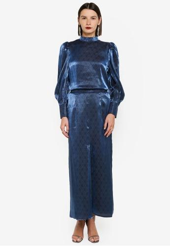 Zalia blue High Neck Top With PleatSkirt Set 1795AAACFED02DGS_1