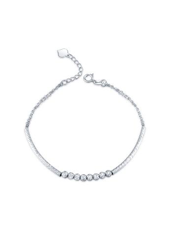 MaBelle silver 14K 585 White Gold Diamond Cut Beads Bracelet F45DFACB0A217CGS_1