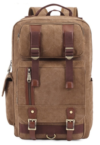 All Things New brown KAUKKO FS261 Canvass Multi-pocket Backpack 31B34AC2B5CE54GS_1