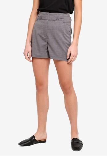 ESPRIT grey Flannel Waist Strap Shorts 8BFE9AA2623E74GS_1
