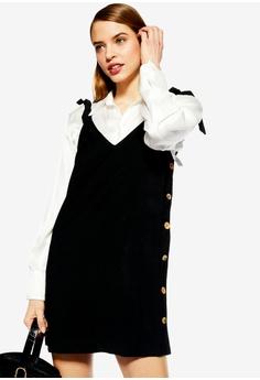 fb16f7436c TOPSHOP black Button Mini Slip Dress 2ECCAAAA2F34C6GS 1