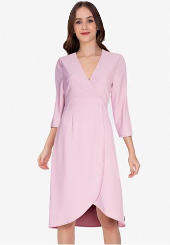 ZALORA WORK pink Wrap Front Tulip Skirt Dress 67D99AA828929AGS_1