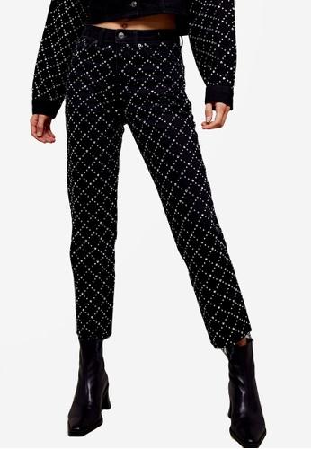 TOPSHOP black CONSIDERED Black Diamante Straight Jeans 974B9AADB363DBGS_1