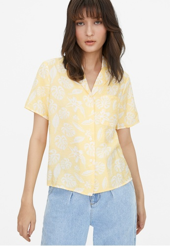 Pomelo yellow Tropical Print Button Up Shirt - Yellow 3BDD5AA56361EDGS_1