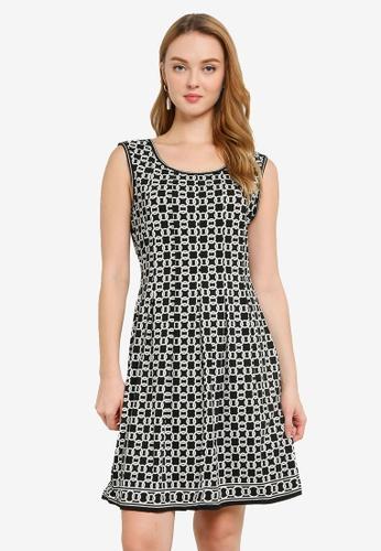 Max Studio black and white Knit Sleeveless Pleated Dress 0CE4CAAD3B85AEGS_1