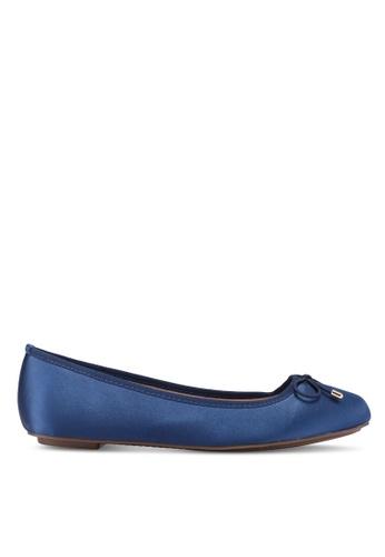 Nose 海軍藍色 綢緞蝴蝶結平底鞋 A0B5CSH31599E4GS_1
