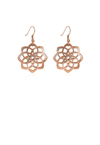 Glamorousky silver Plated Rose Gold Flower Earrings 95DDEAC09585DBGS_1