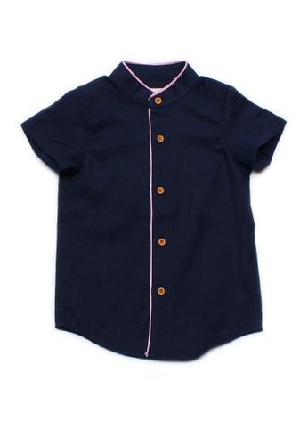 Mini Moley navy Piped Mandarin Collar Boy's Shirt Sleeve Shirt BD84CKA5D85721GS_1