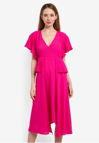 LOST INK pink Pleat Waist Midi Dress E552FAA3DE088CGS_1