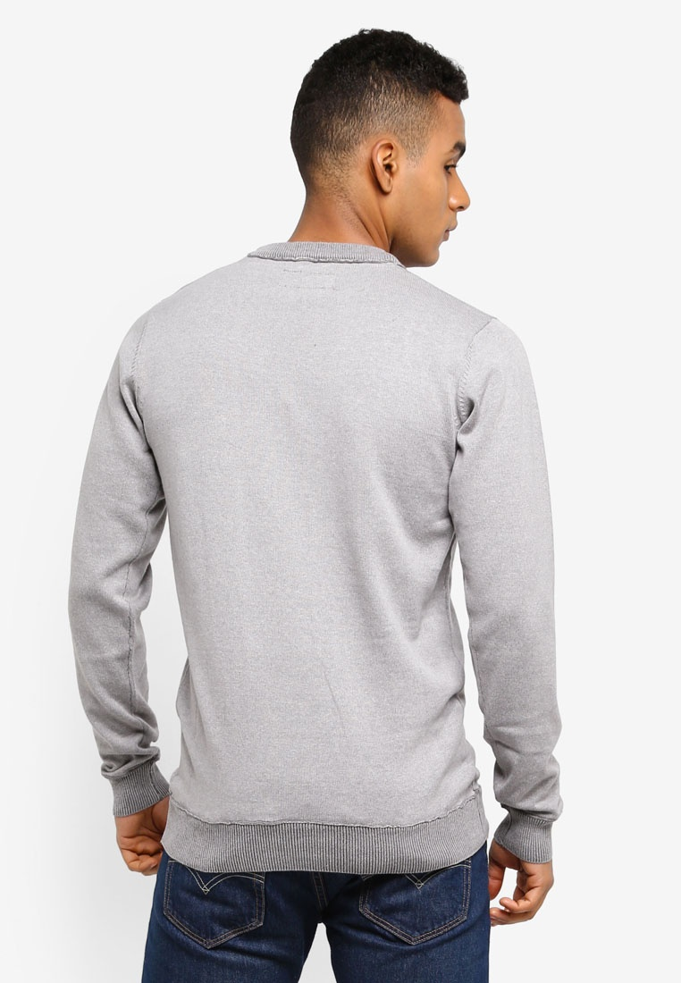 Florian Light Jeans Knitted Sweater Grey Mix Indicode Cotton raFr1n4q
