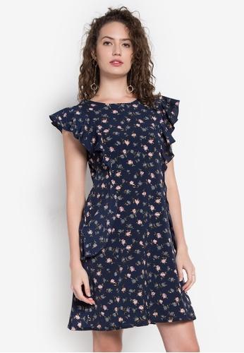 Krizia blue Floral Printed Ruffle Dress KR568AA0K8BPPH_1