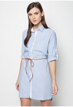 Belted Striped Shirt Dress