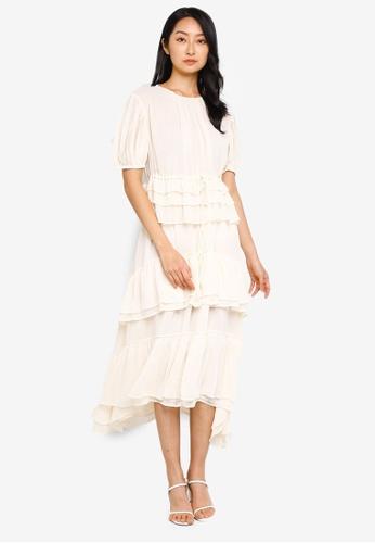 H&M white Tiered Chiffon Dress D9B21AAB9C2D3DGS_1