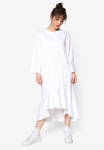 韓系時尚荷葉飾長袖連身裙, 服飾, 洋esprit china裝