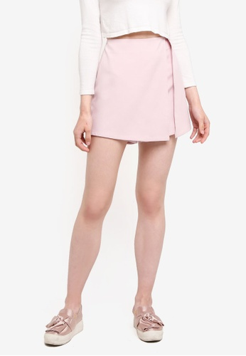 Something Borrowed pink Slit Detail Skort AF253AAD54AE41GS_1