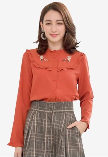 Yoco orange Frill Front Embroidery Blouse E6A3DAA9C89D08GS_1