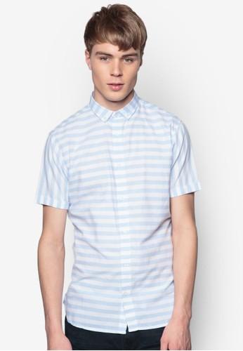 Bevan 條紋短袖襯zalora 男鞋 評價衫, 服飾, 印花襯衫