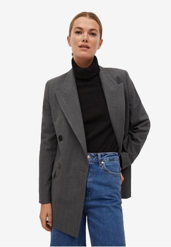 Mango grey Pinstripe Suit Blazer 403C9AA8B2625EGS_1