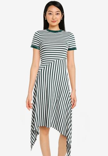 ZALORA BASICS green Contrast Stripes Midi Dress C1E59AA1012AB3GS_1
