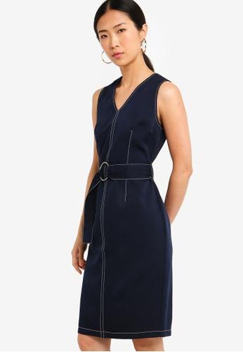 ZALORA BASICS navy Basic Stitch Details V-Neck Tailored Dress 430B2AA1F2D6BDGS_1
